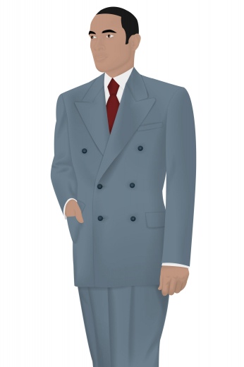 A men's hand tailored suit in an interesting grey shade of blue. This custom made suit is made up of an absolutely dashing classic suit jacket with a slim cut double breasted design that features six grand buttons, peak lapels, standard welt upper pocket and lower pockets with flaps, with a pair of slim cut men's classic vintage pants featuring standard two-point button and hook closure, flat front pleat style, two back pockets and standard belt loops.