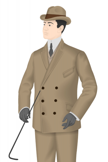 A men's hand tailored suit in an interesting tan shade. This suit is made up of an absolutely stylish and sophisticated classic suit jacket with a slim cut double breasted design that features six grand buttons in a unique  vintage fashion that adorns the jacket beautifully with a pair of slim cut men's classic vintage flat fronts.