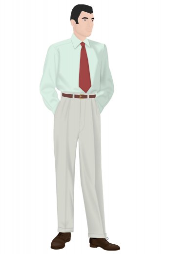 Suit yourself by wearing this stunning mens handmade vintage custom made pant in white, fabricated with wool. It is an elegant daily wear formal for men who like comfort as much as sophistication. With a ground breaking pattern of full cut open pleats and dropped belt loops, this mens bespoke vintage style slack features a zipper fly and 2 point button and hook for closure. Order online to flaunt this mens vintage style custom pant that is also provided with 1.5 Inch Turned-up Cuffs at My Custom Tailor.