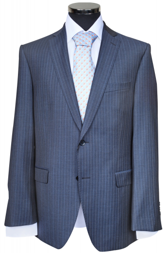This stylish mens made to measure blue grey cotton jacket is an iconic formal wear that can be worn daily. It is a perfect match for interviews and other corporate meetings too. This breathable mens bespoke blazer has a slim cut finish adorned with a 2-button front closure, 2 notch lapels, 2 flapped lower pockets, and 1 upper welt pocket. Order online at My Custom Tailor where you are provided with the flexibility to order this jacket with hand stitched edges of the lapels and pockets for added finesse.