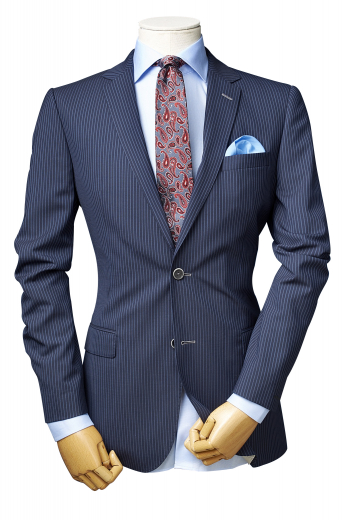 Let the jingle of style ring in your boring corporate life with this mens handsome custom made blue blazer in alpaca wool. It puts to display a stunning array of vertical stripes that are heart-stoppingly elegant. This made to order mens custom blazer is a slick slim fit formal that is adorned with 2 buttons for front closure, notch lapels, one upper welt pocket, and two lower flapped pockets. Order online at My Custom Tailor to wear this impressive blazer for every important meeting and interview.