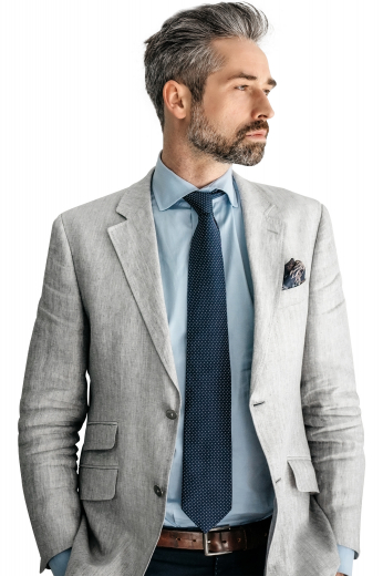 This dashing handmade light grey blazer for men is made with premium quality linen and wool. It is a single-breasted slim-fit piece that justifies latest formal styling by putting forth an extra flap ticket pocket aside the standard upper welt pocket and two lower pockets with hand sewn flaps. It can be order made with a globule of standard notch lapels and looks extraordinarily sophisticated when donned with formal bespoke shirts.