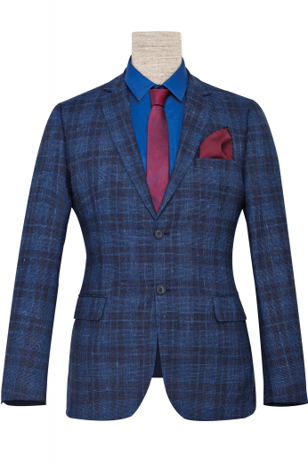 This men's blue and black plaid custom blazer is perfect for all formal occasions! It is tailor made in a fine wool and cut to a slim fit, featuring single breasted button closure and notch lapels.