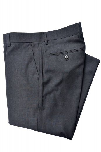 This men's custom made black trouser is tailor made in a fine wool blend and cut to a slim fit, featuring slash pockets, extended belt loops and a flat front pleat.