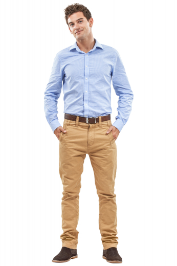 This men's bright khaki trouser is tailor made in a fine wool blend and cut to a slim fit, featuring slash pockets and a flat front pleat. This slim fit pair of men's pants also features a zipper fly.