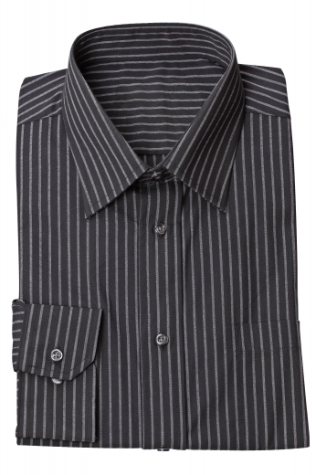 This men's black and white pinstriped button down is tailor made in a fine italian linen and cut to a slim fit, featuring an ainsley collar and rounded barrel cuffs. It is a handsome and sleek formal option, made to fit you perfectly.