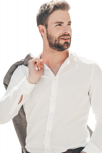 This men's white, full-sleeve button down is tailor made in a fine blend and cut to a slim fit, featuring rounded barrel cuffs and an ainsley collar, perfect for office wear.