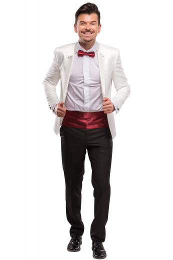 This sleek men's pant suit is tailor made in a fine wool blend and cut in a slim fit, featuring hand sewn cuffs, single breasted button closures, and double piped pockets.