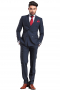 This men's pant suit is tailor made in a fine wool blend, featuring a double breasted button closure, peak lapels, and handsewn cuffs.