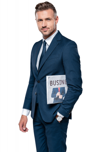 This men's pant suit is tailor made in a fine wool blend to a slim fit, featuring slash pockets and single breasted button closure.