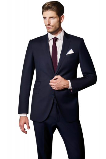 This men's pant suit is tailor made in a wool blend, with a single breasted button closure and slash pockets. It is perfect for all formal occasions.