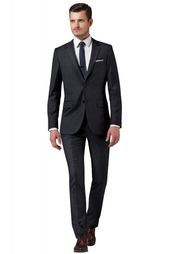 This black men's suit set is tailor in a fine wool blend to fit you perfectly, cut to a slim fit and featuring slash pockets.