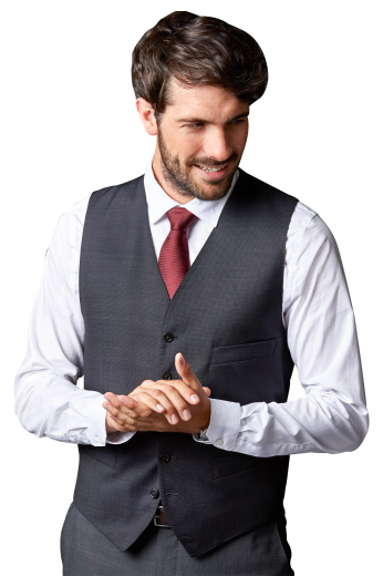 This men's vest is tailor made in a wool blend, featuring a single breasted closure and v neck. It is perfect for all special occasions.