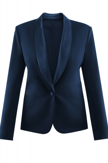 This women's custom tailored midnight blue shawl collar jacket features a single breasted button closure and sleek sleeves. It is an elegant option for any day at the office.