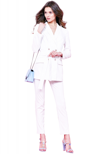 This women's white double breasted blazer suit set is perfect for work wear and formal wear. The suit features pockets and a button closure, custom made in a wool blend to the perfect fit.