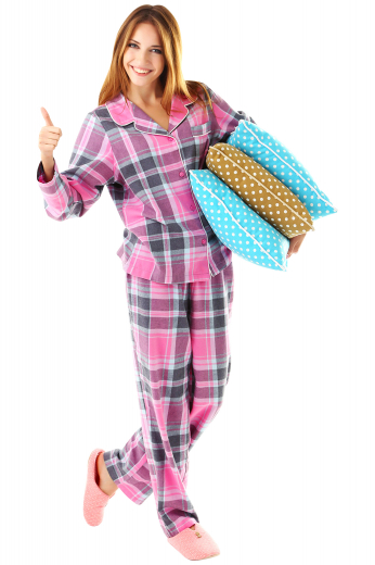This women's loose pajama set is custom made to a perfect comfortable fit. The pajama top features an ainsley collar and matching buttons.
