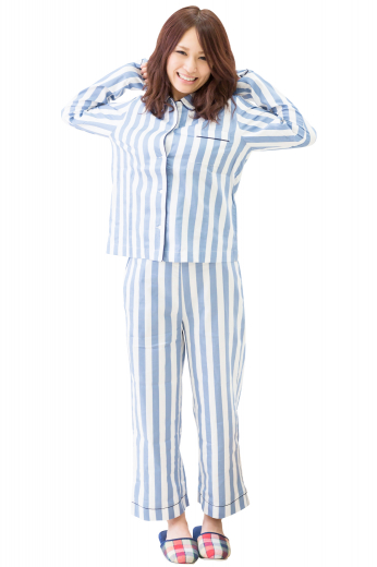 This women's slim cut blouse comes in a pinstripe pattern featuring an ainsley collar, roll-up sleeves, and matching buttons. It is perfect for casual wear, such as paired with pajama pants.