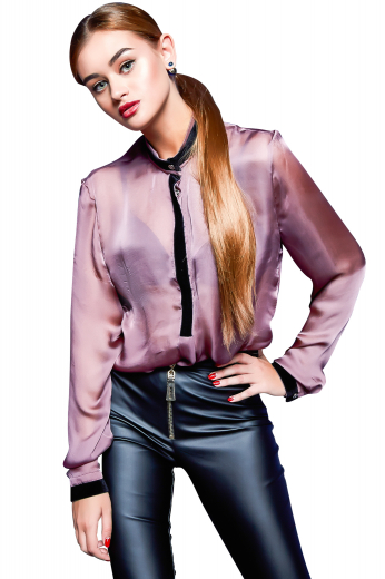 This silky button down is perfect to add a sleek twist to your night out look, tailor made with a band collar and placket front. This gorgeous sophisticated silky women's made to measure blouse will make a geat addition  to your formal wear collection and you'll look and feel stunning every time you put it on.