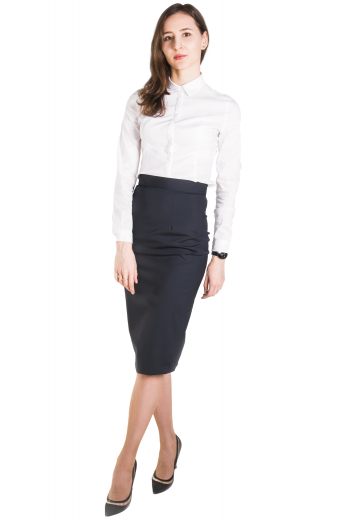 Comfortably cut to fit in a flattering manner is this sophisticated women's classic white long sleeve formal dress shirt. This professional women's button down is perfect for formal looks, tailor made with a sleek collar and rounded barrel cuffs.