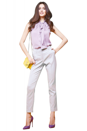 A classic extravagant women's impeccable pastel lavender blouse hand stitched beautifully to flatter any elegant summer look. This sleeveless blouse features a pussy bow collar and matching buttons, made to measure to a sleek fit.