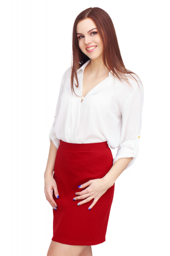 This bold and bright pencil skirt will add the pop of color that you need to a plain outfit. Custom made to the perfect fit, this pencil skirt is custom tailored to your needs.