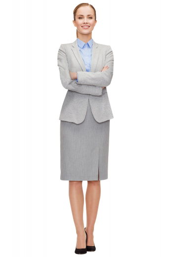 This women's skirt suit is sure to put a punch of personality and style back into your work wardrobe. Custom made with a single breasted button closure and a modest left panel slit, this suit is reminiscent of the classic Audrey Hepburn skirt suit.