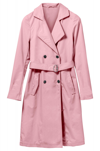 This double breasted coat puts a girly twist on the classic trench coat. The soft pink will be the perfect pop of color for your outfit. Reaching knee-length, this coat features slanted pockets and is perfect for the office or everyday wear.