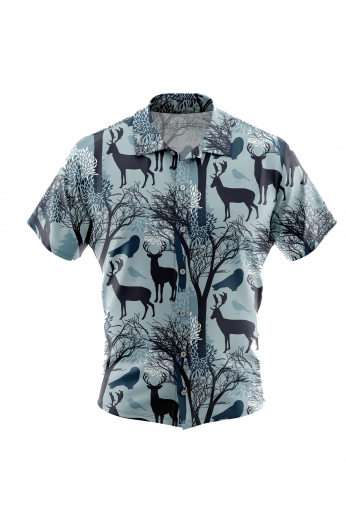 A stylishly festive icy blue men's custom tailored short sleeve dress shirt intricately designed with beautiful contrasting reindeer birds and trees. This men's made to measure dress shirt is great for a casual day out and also on vacation. This handstitched dress shirt will make a great addition to your collection.