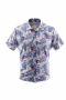 A stylish men's custom tailored short sleeve dress shirt intricately designed with beautiful blue and red watercolor woodpecker birds and indigo leaves. This men's made to measure dress shirt is great for a casual day out and also on vacation. This handstitched dress shirt will make a great addition to your collection.