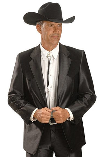 An extravagant men's professionally tailored single breasted western style suit in a classic black sheen made up of a made to measure pair of comfortable well ventilated bespoke suit pants matched with a hand tailored single breasted suit jacket designed with a modern elegant design for the sophisticated cowboy.