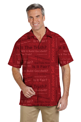 Red custom tailored men's rotary four way test shirt custom tailored from a breathable summer fabric. This tailored shirt features a loose cut with a flattering Hawaiian collar and short sleeves, a pocket on the left and a classic placket front and square bottom tail.