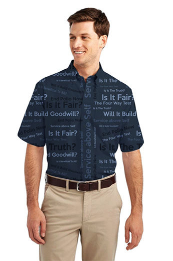 In a sophisticated and deep dark navy is this custom tailored men's shirt in a flattering loose fit that is expertly cut just for you. This men's tailored shirt with its standard short sleeves and button down collar features standard pocket on the left, a classic placket front, and standard tails.
