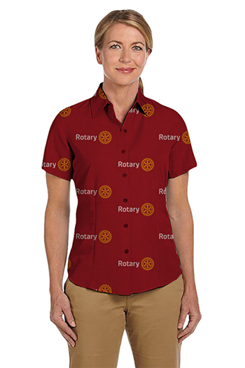 In a flattering and vibrant red is this custom tailored shirt with a classic standard cut, this tailored shirt also features a Hawaiian collar with standard short sleeves and a plain front. This bespoke women's shirt is a great buy.
