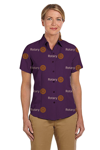 In a custom tailored light plum with a standard cut that is highly flattering. This hand tailored women's shirt features a traditional front and back single dart and a plain design. This is a great club shirt.