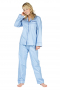 Cute light blue silk pyjamas and shirts for comfortable night sleep. Custom made silk pyjamas have an elastic waistband that feels soft against the skin. Matching made-to-measure silk shirts have front left pocket and front closure buttons.