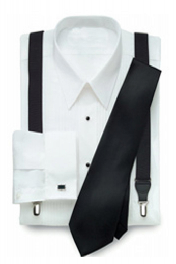 A made to measure men's elegant tuxedo shirt custom tailored to fit you perfectly slim cut design and European style forward point collar.