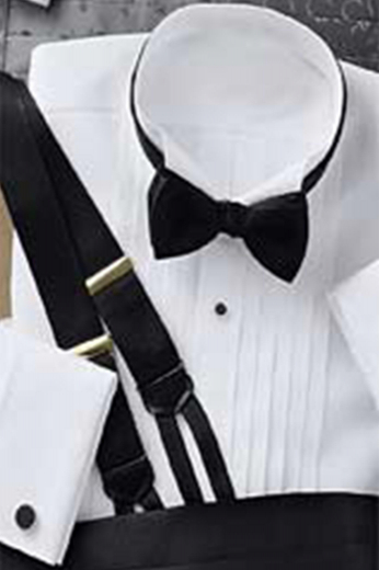 Wing collar pleated front French cuff dinner shirt made by our skilled tailors. This tux shirt is perfect for formal events.