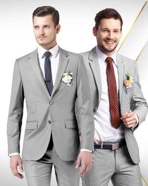 The Wedding Six - 5 Groomsmen's Suits, 1 Groom's Suit and 2 Neckties for the Full Wedding Party - from fabrics in our Exclusive COLLECTIONS