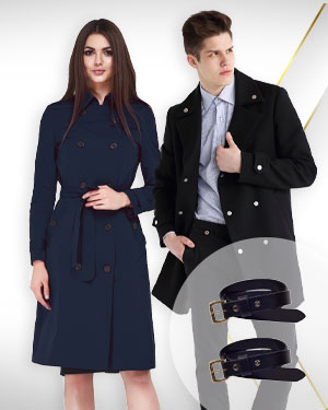1 Mens Coat, 1 Womens Coat and 2 Belts  from Exclusive Collections