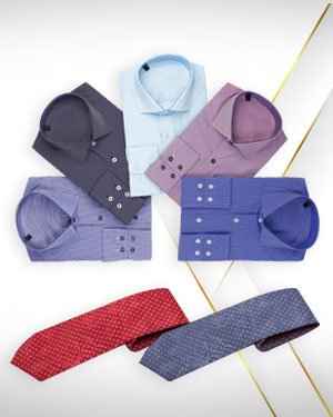 Five cotton dress shirts and 2 Neckties for men