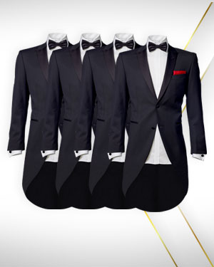 For the Bridegrooms Men - 4 Tails, 4 Vests, 4 Dinner Shirts and 3 Bowties - from the Classic Collections