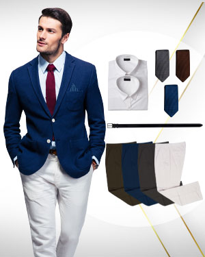 Deluxe Summer Package - 1 Jacket, 4 Pairs of Pants, 2 Cotton Shirts and 1 Belt and 3 Neckties from our Deluxe Collections