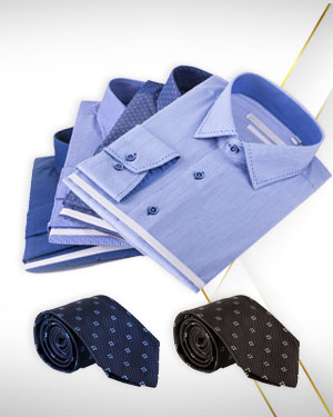 Four Shirts and 2 Neckties for the workplace from our Exclusive Collections