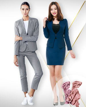 Womens Summer Suits - 1 Skirt Suit, 1 Pants Suit and 2 Silk Scarfs for the Career Woman from our Premium Collections