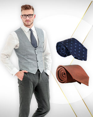 Two English style contemporary waistcoats and 2 Neckties for men From Exclusive Collection