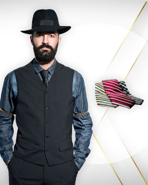 4 casual yet dressy summer vests for men and 3 Neckties From Exclusive Collection