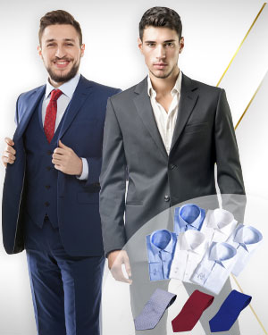 Three Two Six - 1 Three Piece Suit, 1 Two Piece Suit, 6 Cotton Shirts and 1 Belt and 3 Neckties from our Exclusive Collections