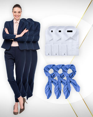 3 Womens Pants Suits, 3 Shirts and 3 Scarfs from our Classic Collections
