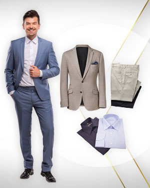 1 Suit, 1 Blazer, 2 Pants from our Exclusive Collection and Get 2 FREE Shirts from our Exclusive Collection.