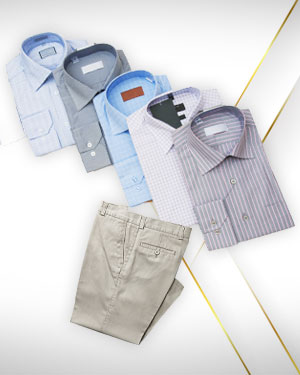 6 Business Dress Shirts from our Exclusive Collection and Get 1 Pants FREE from our Exclusive Collection.